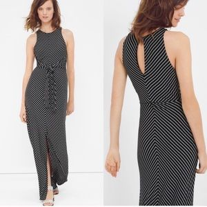 WHBM tie front stripe maxi dress Small